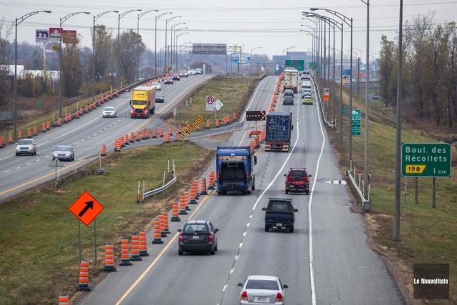 L'important chantier routier du MTQ sur l'autoroute 40... (Olivier Croteau, Le Nouvelliste)