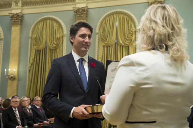 Justin Trudeau à son assermentation, mercredi.... (Sean Kilpatrick)