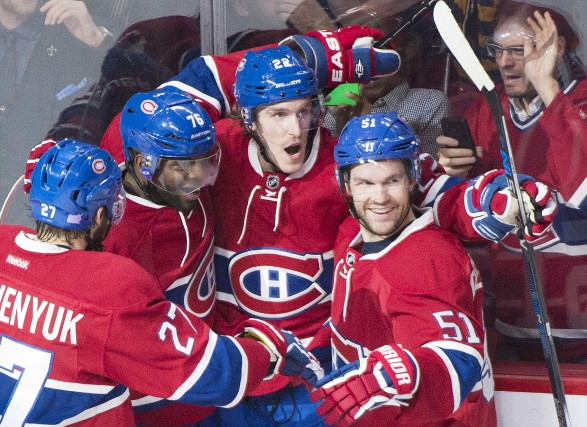 Dale Weise (22) avec ses coéquipiers Alex Galchenyuk... (La Presse Canadienne)