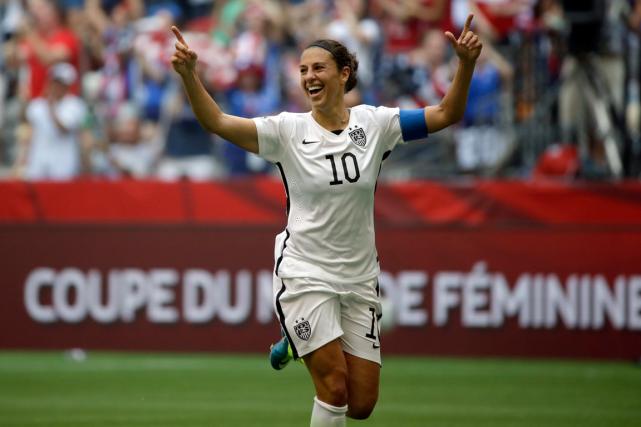 La capitaine des États-Unis Carli Lloyda marqué trois... (Archives, AP)