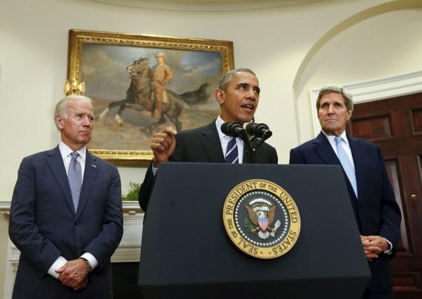 Le président américain Barack Obama, lors de l'annonce... (Associated Press)