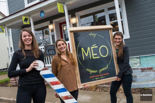 Les trois propriétaires du magasin général Chez Méo,... (Photo: Olivier Croteau Le Nouvelliste)