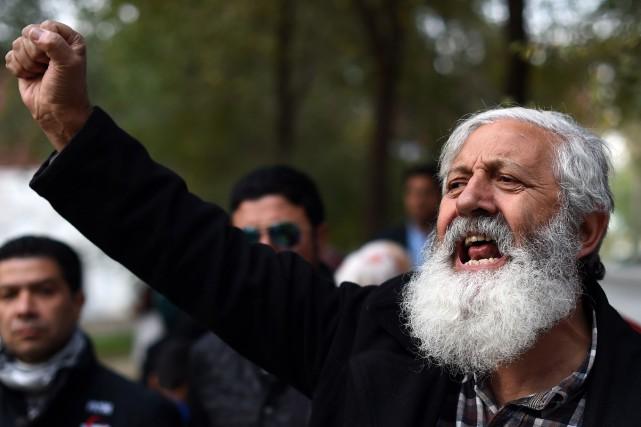 Une manifestant proteste vivement après le lynchage de... (Photo Wakil Kohsar, AFP)