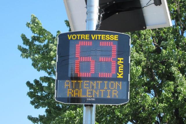 Un radar pédagogique a été installé sur le boulevard Marcotte, à Roberval, dans... (Photo MTQ)