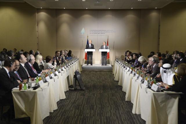 Le ministre français des Affaires étrangères, Laurent Fabius... (AFP, Bertrand Guay)