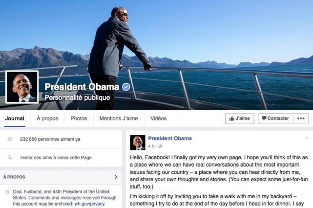 Le président américain Barack Obama a rejoint les plus d'un milliard et demi... (Image tirée de Facebook)