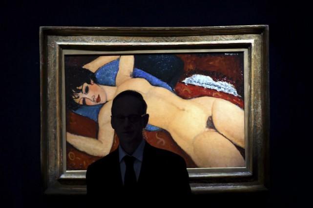 La toile de Modiglianiavait été estimée à 100... (PHOTO TIMOTHY A. CLARY, AFP)