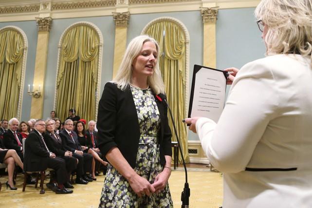 La ministre canadienne de l'Environnement,Catherine McKenna, lors de... (AFP, Chris Wattie)