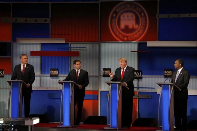 De gauche à droite : Jeb Bush, Marco... (PHOTO REUTERS)