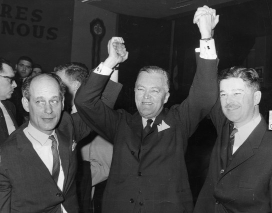 René Lévesque, Jean Lesage et Paul Gérin-Lajoie sont... (PHOTO ARCHIVES LA PRESSE)