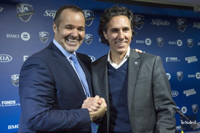 Joey Saputo et Mauro Biello... (Photothèque Le Soleil)
