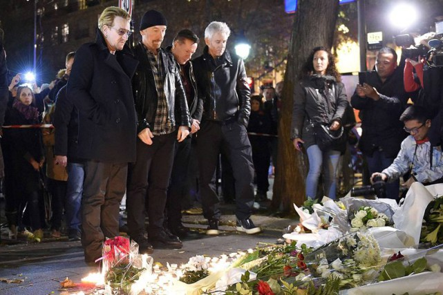 Les membres de U2 (Bono, The Edge, Larry... (PHOTO AFP, FRANCK FIFE)