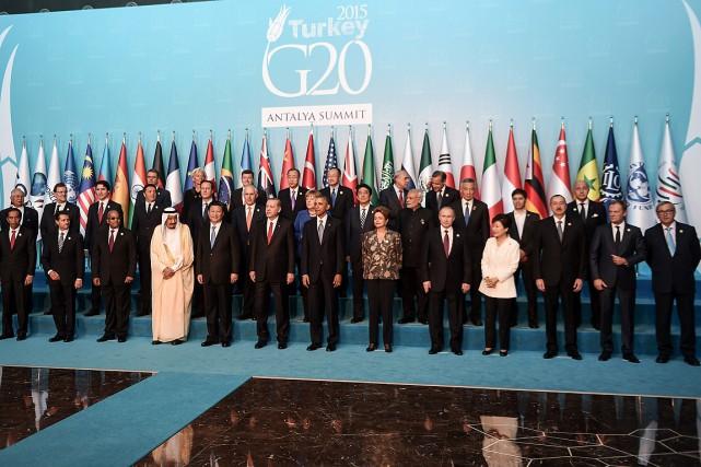 Selon plusieurs sources, le G20 préparait une déclaration... (PHOTO OZAN KOSE, AFP)