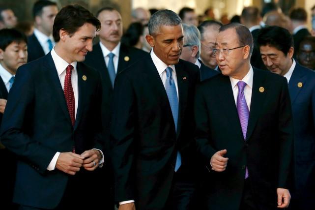Justin Trudeau, aux côtés du président américain Barack... (PHOTO JONATHAN ERNST, ARCHIVES REUTERS)