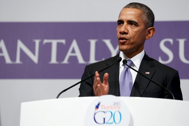Le président américain Barack Obama, au sommet du... (PHOTO JONATHAN ERNST, REUTERS)