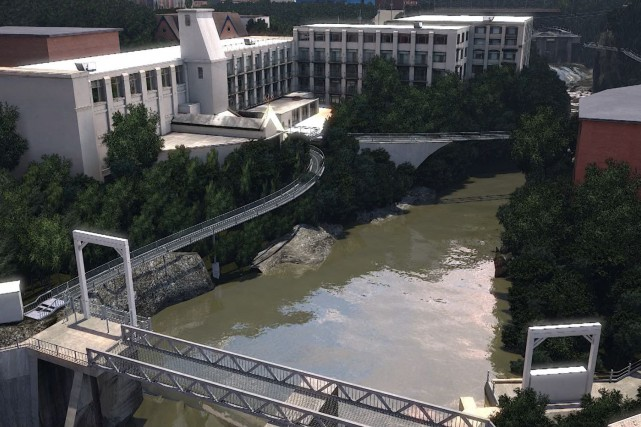 Une passerelle suspendue serait construite sur la rive... (Photo fournie)