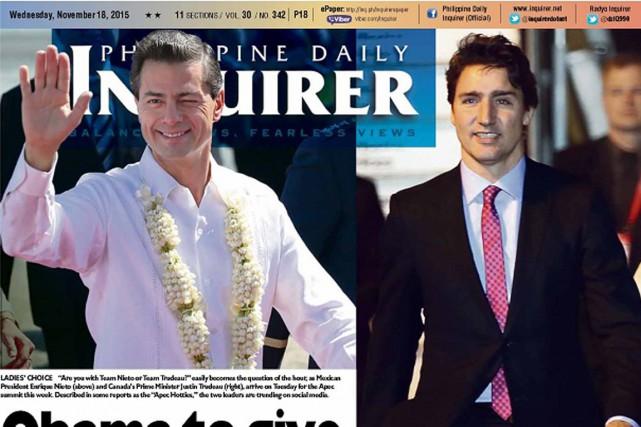 Les photos de MM. Trudeau et Nieto occupaient...