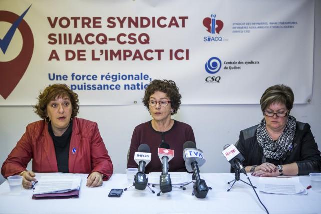 Claire Montour, présidente de la FSQ-CSQ, Louise Chabot,... (Olivier Croteau)