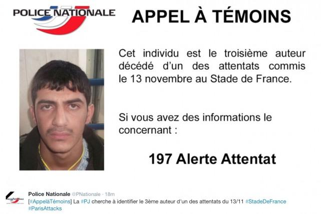 La police française a diffusé dimanche un appel... (AP, fournie par la police nationale)
