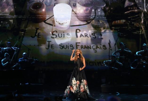 Céline Dion s'est présentée sur la scène des... (The Associated Press, Matt Sayle)