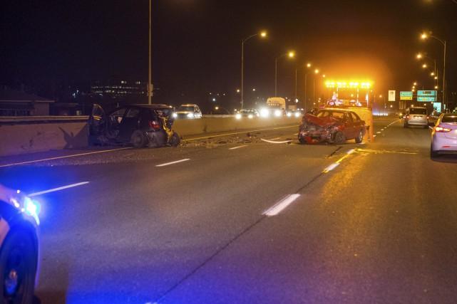 Un accident impliquant trois véhicules est survenu mardi... (Olivier Croteau)