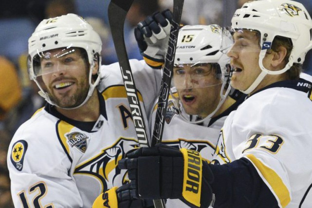Mike Fisher a mis fin à une disette record des Predators de Nashville en... (PHOTO AP)