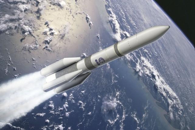 Dessin d'une fusée Ariane 6.... (Illustration fournie par l'Agence spatiale européenne)