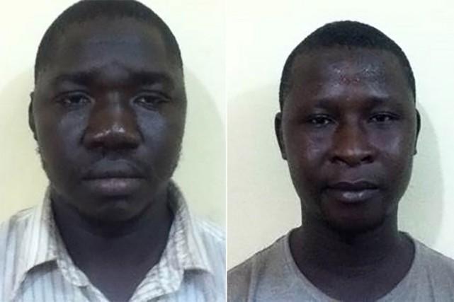 Les identités et les portraits des deux suspects arrêtés en lien avec l'attaque... (Photo forces de l'ordre/AFP)