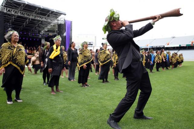 La cérémonie maori était diffusée en direct par... (PHOTO AFP)