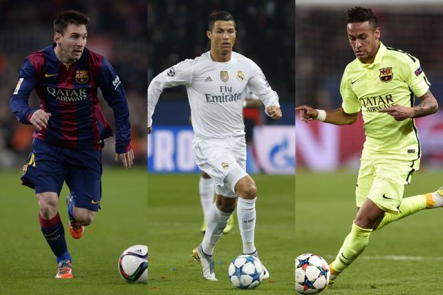 Lionel Messi, Cristiano Ronaldo et Neymar... (Photos AFP)