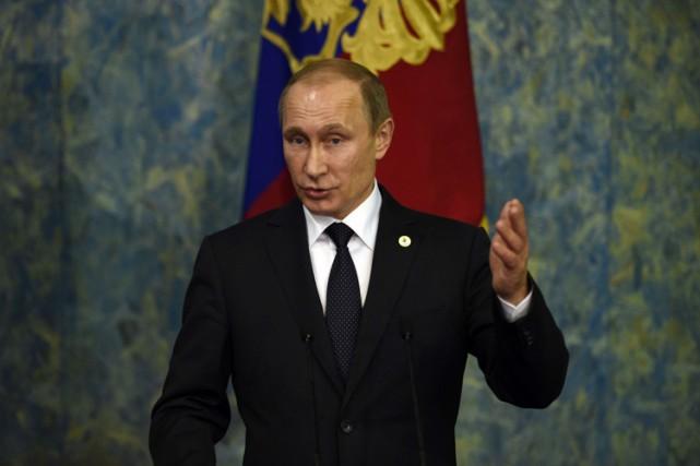 Le président russe Vladimir Poutine au Bourget, en... (PHOTO AFP)