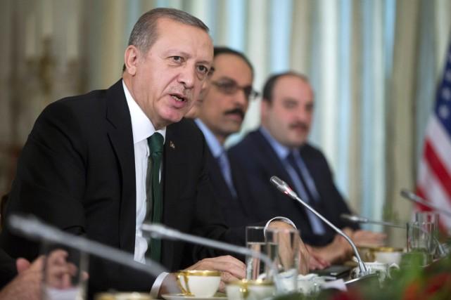 Le président turc Recep Tayyip Erdogan lors d'une... (PHOTO EVAN VUCCI, ARCHIVES AP)
