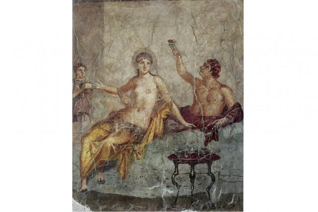 Pompéi, scène de banquet, Herculanum (détail), Museo Archeologica... (PHOTO FOURNIE PAR LE MUSEO ARCHEOLOGICA NAZIONALE DI NAPOLI (MANN), FOURNIE PAR LE MBAM)