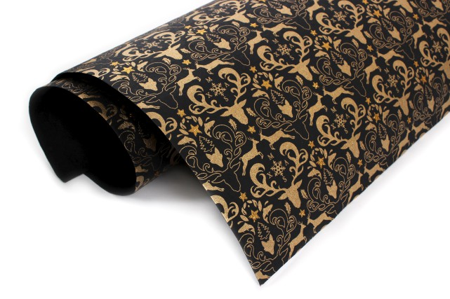 Coup de coeur pour ce superbe papier d'emballage de Noël noir et doré fait à la... (Fournie par DeSerres)