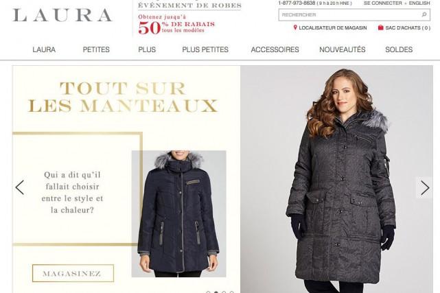 Laura's Shoppe exploite les bannières Laura, Laura Petites,... (Capture d'écran du site laura.ca.)