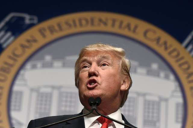 Donald Trump s'adressait aujourd'hui à un auditoire républicain... (PHOTO SUSAN WALSH, ASSOCIATED PRESS)