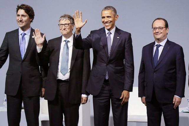 Justin Trudeau, Bill Gates, Barack Obama et François... (AFP, Ian Langsdon)
