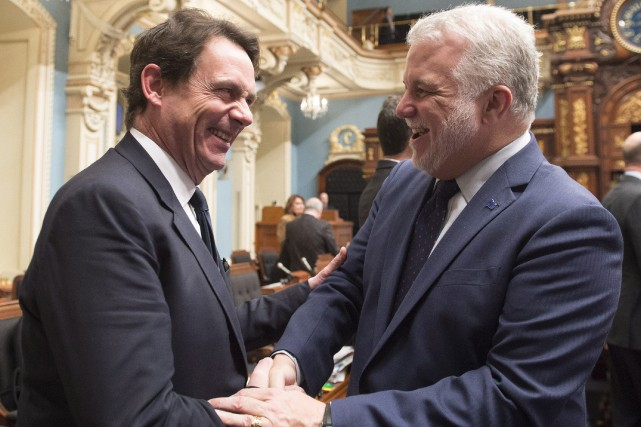 Le chef de l'opposition, Pierre Karl Péladeau, et... (PHOTO JACQUES BOISSINOT, LA PRESSE CANADIENNE)