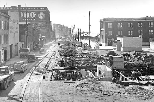 Mégachantier que celui de la construction de l'égout collecteur de la Ville de... (Archives de la Ville de Québec négatif # N000315)