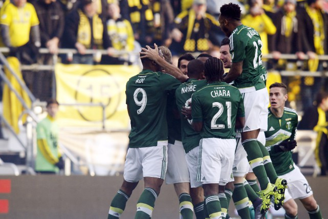 Les Timbers de Portland célèbrent un but contre... (Associated Press)