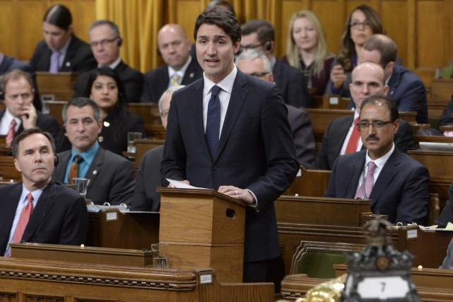 Le premier ministre Justin Trudeaua précisé deux de... (La Presse Canadienne, Adrian Wyld)