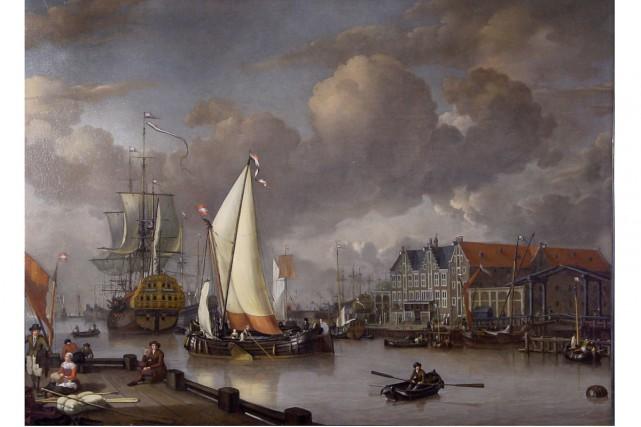 Une des toiles retrouvées, soit View of Oostereiland... (PHOTO AFP)
