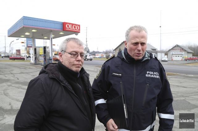 Sylvain Boisvert, victime de l'agression, et Guy Rousseau,... (Janick Marois, La Voix de l'Est)