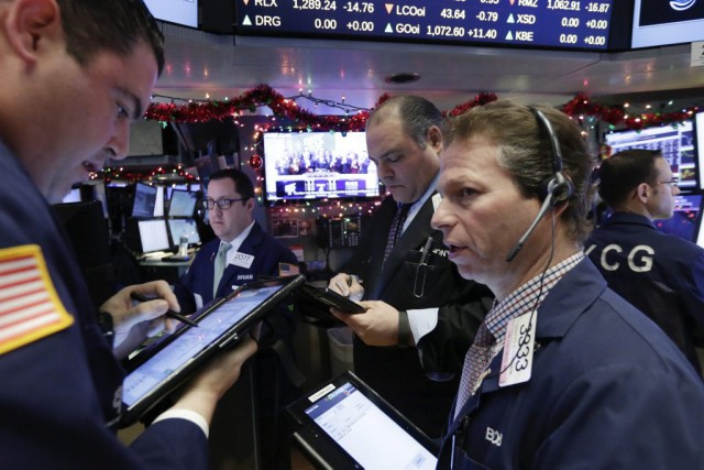 Désormais, Wall Street poursuit sa baisse, «comme de... (Photo Richard Drew, AP)