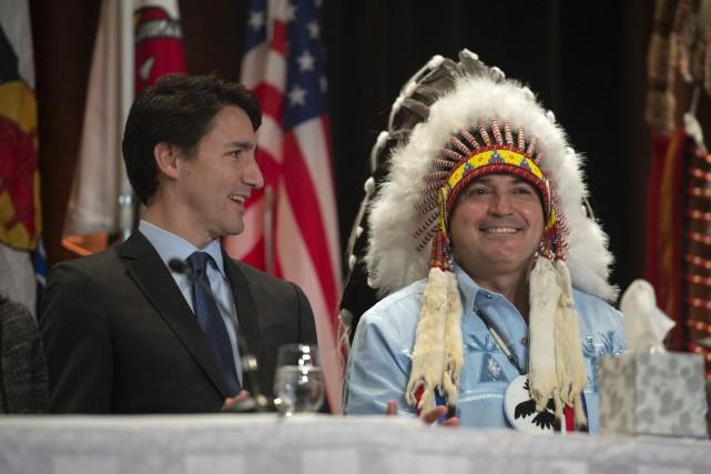 Le premier ministre, Justin Trudeau, et le chef... (La Presse Canadienne)