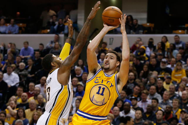 Klay Thompson (11) a inscrit 39 points dans la... (Photo Brian Spurlock, USA Today)