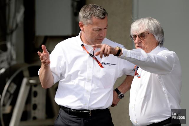 François Dumontier et Bernie Ecclestone... (Photo Bernard Brault, archives La Presse)