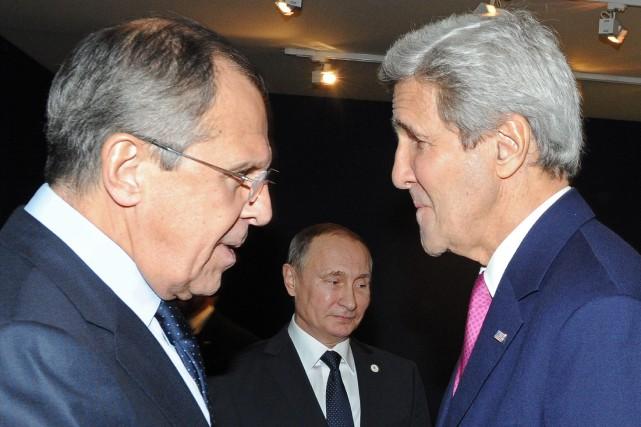 Le ministre des Affaires étrangères russe,Sergueï Lavrov, croise... (Photo Mikhail Klimentyev, AP)