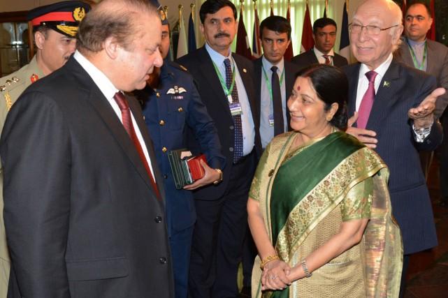 La ministre indienne des Affaires étrangères Sushma Swaraj... (PHOTO AFP/PID)