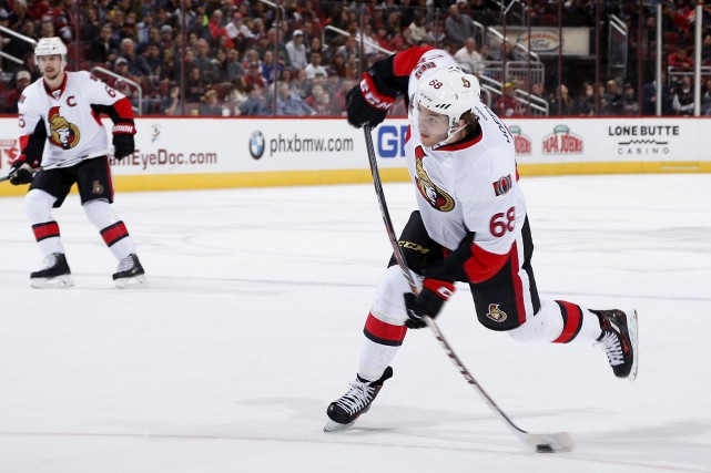 Mike Hoffman n'a pas apprécié du tout que... (Christian Petersen, Archives Getty Images/AFP)